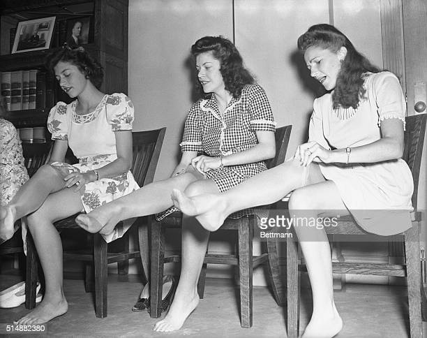 As World War II ended, women were able to obtain nylon stockings once again.