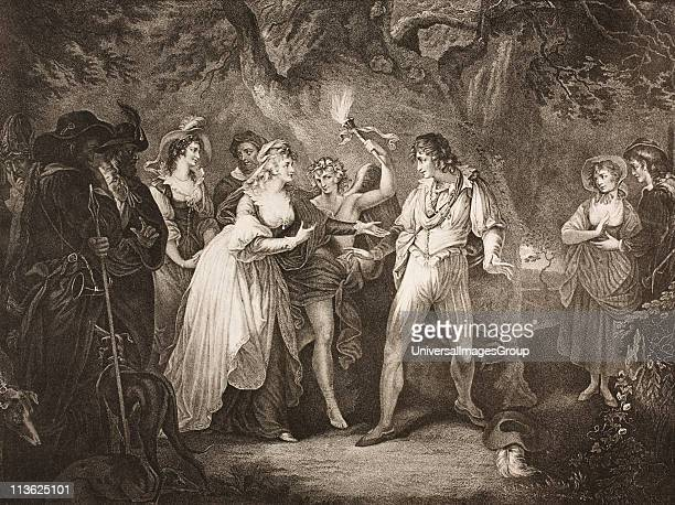 As You Like ItAct V Scene IV The Forest Duke Senior Amiens Jaques Orlando Silvius Oliver Touch Stone Audrey Phebe Rosalind Celia and Hymen From The...