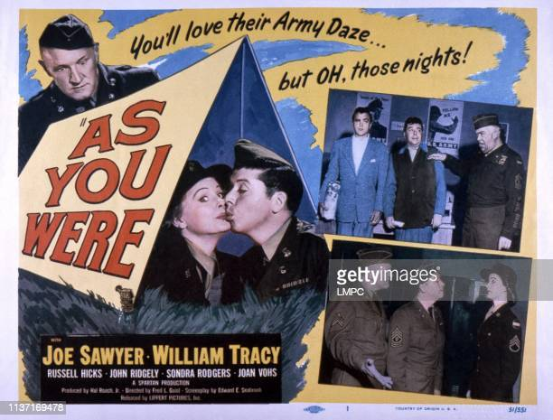 As You Were poster US poster Joe Sawyer kissing from left William Tracy Joan Vohs bottom from left Joe Sawyer William Tracy Joan Vohs 1951