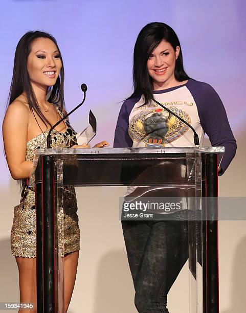 Asa Akira and Andy San Dimas attend the 2013 XBIZ Awards at the Hyatt Regency Century Plaza on January 11, 2013 in Los Angeles, California.