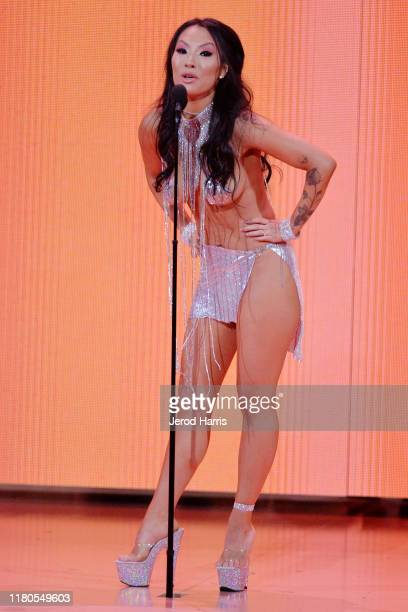 Asa Akira appears on stage at the 2nd Annual Porn Hub Awards at The Orpheum Theatre on October 11, 2019 in Los Angeles, California.