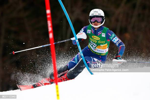 Asa Ando of Japan competes during the Audi FIS Alpine Ski World Cup Women's Slalom on January 7 2018 in Kranjska Gora Slovenia