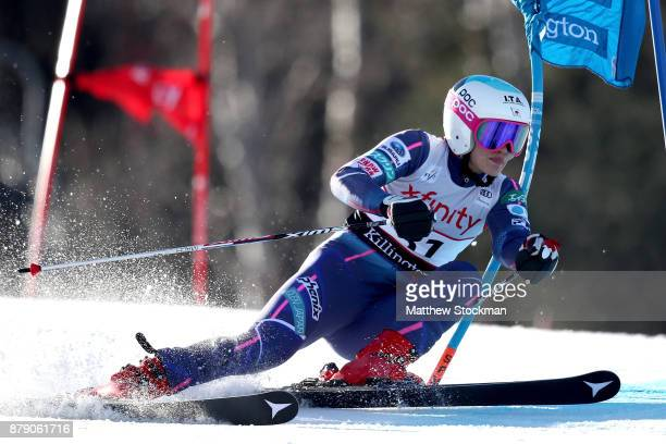 Asa Ando of Japan competes in the first run of the Giant Slalom during the Audi FIS Ski World Cup Killington Cup on November 25 2017 in Killington...