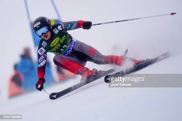 Asa Ando of Japan competes in the second run of the AUDI FIS Ski World Cup Ladies Giant Slalom on October 27 2018 in Soelden Austria