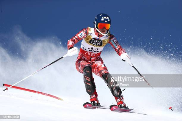 Asa Ando of Japan competes in the Women's Slalom during the FIS Alpine World Ski Championships on February 18 2017 in St Moritz Switzerland