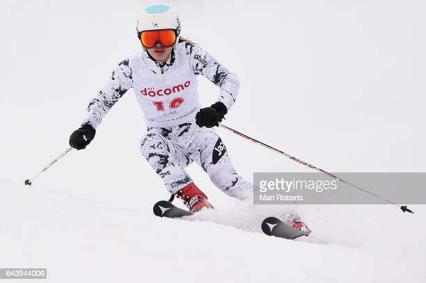 Asa Ando of Japan competes in women's giant slalom alpine skiing on day six of the 2017 Sapporo Asian Winter Games at Sapporo Teine on February 23...