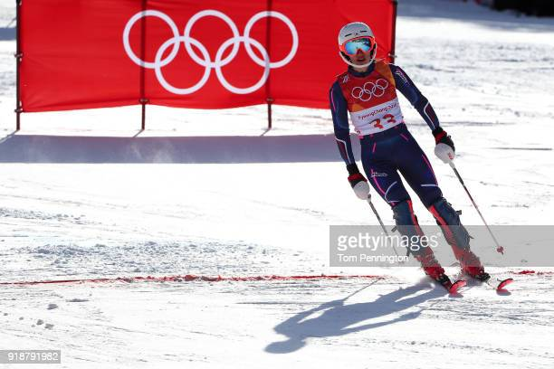 Asa Ando of Japan fails to finish during the Ladies' Slalom Alpine Skiing at Yongpyong Alpine Centre on February 16 2018 in Pyeongchanggun South Korea