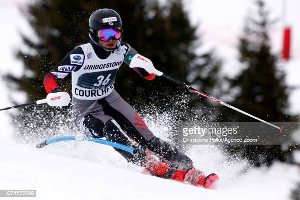 Asa Ando of Japan in action during the Audi FIS Alpine Ski World Cup Women's Slalom on December 22 2018 in Courchevel France