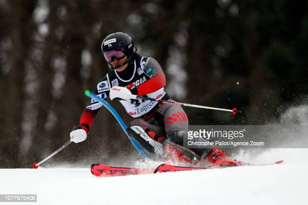 Asa Ando of Japan in action during the Audi FIS Alpine Ski World Cup Women's Slalom on January 5 2019 in Zagreb Croatia