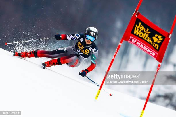 Asa Ando of Japan in action during the Audi FIS Alpine Ski World Cup Women's Giant Slalom on February 1 2019 in Maribor Slovenia