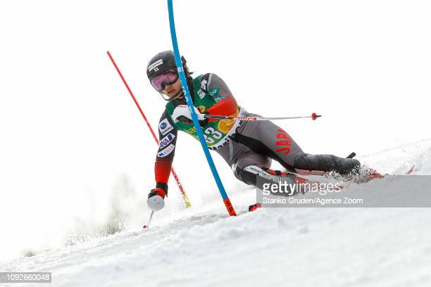 Asa Ando of Japan in action during the Audi FIS Alpine Ski World Cup Women's Slalom on February 2 2019 in Maribor Slovenia