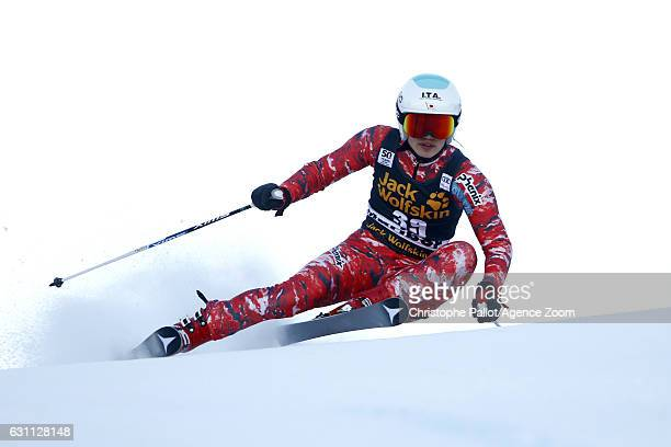 Asa Ando of Japan in action during the Audi FIS Alpine Ski World Cup Women's Giant Slalom on January 07 2017 in Maribor Slovenia