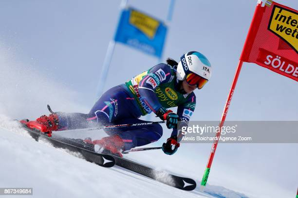 Asa Ando of Japan in action during the Audi FIS Alpine Ski World Cup Women's Giant Slalom on October 28 2017 in Soelden Austria