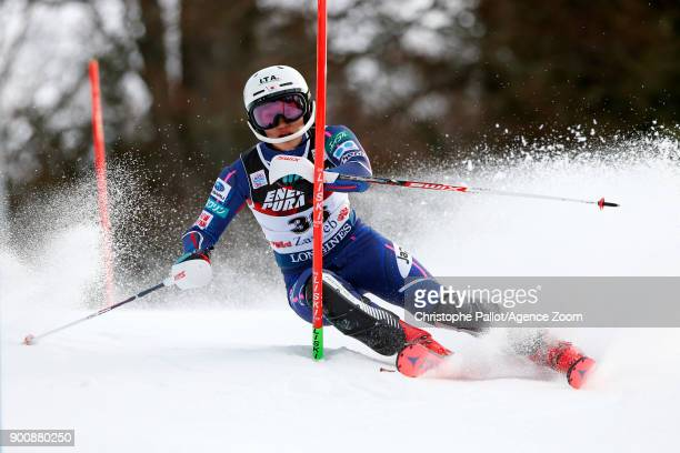Asa Ando of Japan in action during the Audi FIS Alpine Ski World Cup Women's Slalom on January 3 2018 in Zagreb Croatia