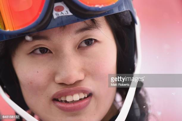 Asa Ando of Japan looks on after finishing in second place in the women's slalom alpine skiing on the day eight of the 2017 Sapporo Asian Winter...