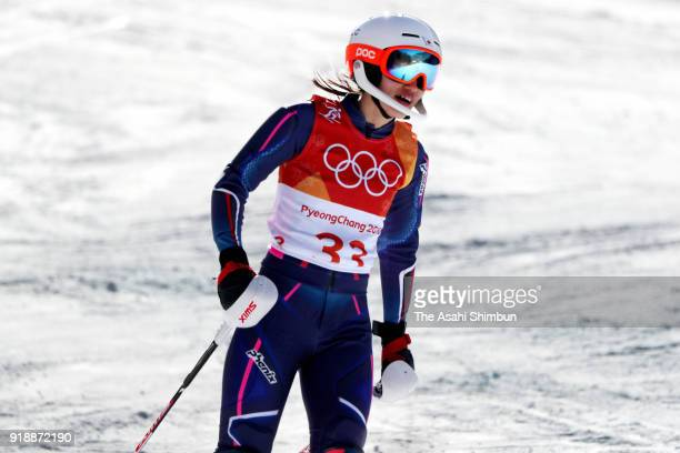 Asa Ando of Japan reacts after failing to finish during the Ladies' Slalom Alpine Skiing at Yongpyong Alpine Centre on February 16 2018 in...