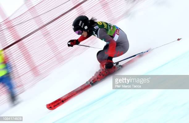Asa Ando of Japan team of Alpine Skiing Women running during first round of Giant slalom of FIS Ski World Cup 2018/19 on October 27 2018 in Solden...