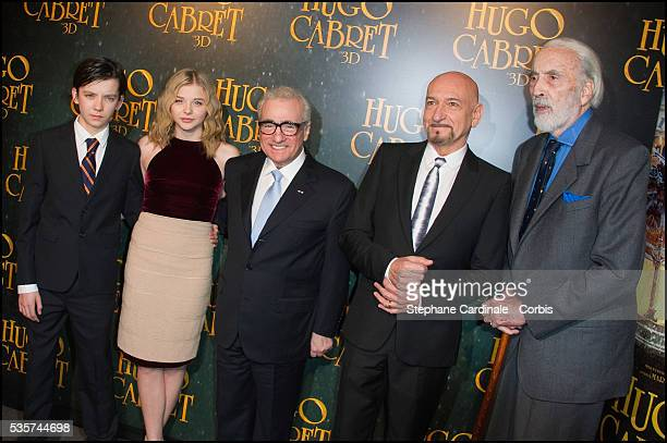Asa Butterfield Chloe Moretz Martin Scorsese Sir Ben Kingsley and sir Christopher Lee attend the premiere of 'Hugo Cabret 3D' in Paris