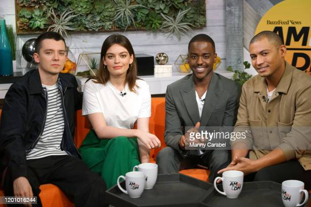 Asa Butterfield Emma Mackey Ncuti Gatwa and host Zach Stafford during BuzzFeed's AM To DM on January 21 2020 in New York City