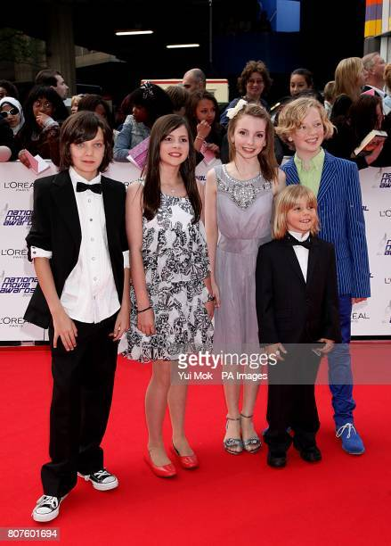 Asa Butterfield Lil Woods Rosie Taylor Ritson Oscar Steer and Eros Valhos arriving for the 2010 National Movie Awards at the Royal Festival Hall...