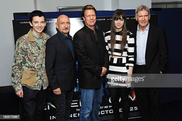 Asa Butterfield Sir Ben Kingsley Gavin Hood Hailee Steinfield and Harrison Ford attend a fan event for 'Enders Game' at The Odeon Leicester Square on...