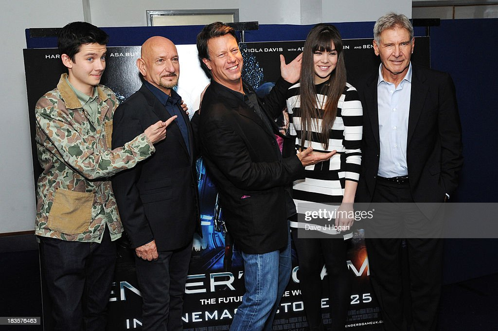 Asa Butterfield, Sir Ben Kingsley, Gavin Hood, Hailee Steinfield and Harrison Ford attend a fan event for 'Enders Game' at The Odeon Leicester Square on October 7, 2013 in London, England.