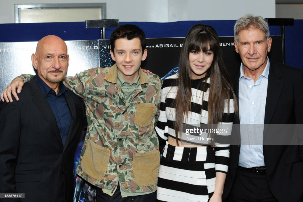 Asa Butterfield, Sir Ben Kingsley, Hailee Steinfield and Harrison Ford attend a fan event for 'Enders Game' at The Odeon Leicester Square on October 7, 2013 in London, England.