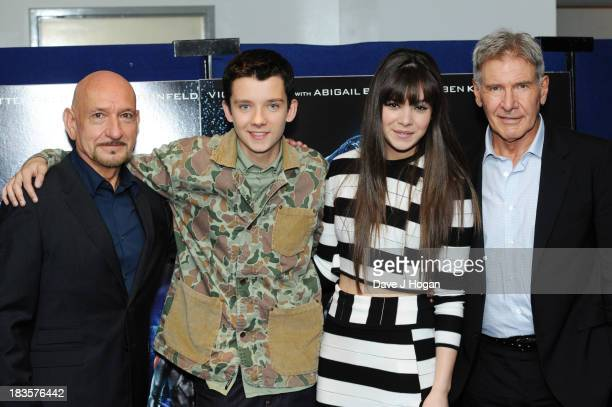 Asa Butterfield Sir Ben Kingsley Hailee Steinfield and Harrison Ford attend a fan event for 'Enders Game' at The Odeon Leicester Square on October 7...