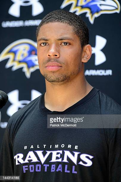 Asa Jackson of the Baltimore Ravens speaks to members of the media after a practice during the Baltimore Ravens minicamp on May 13 2012 in Owings...