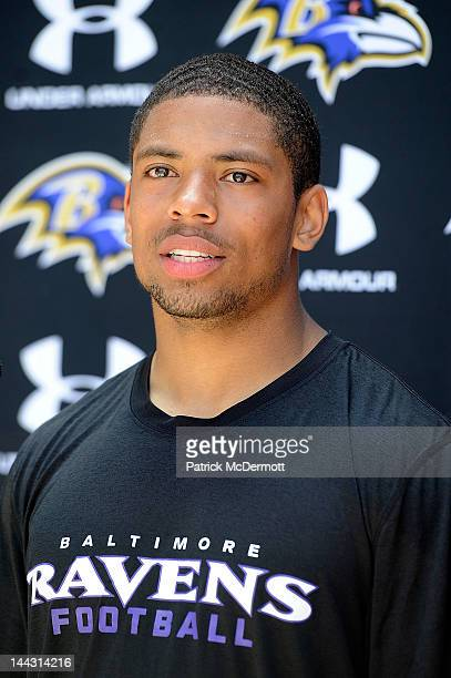 Asa Jackson of the Baltimore Ravens speaks to the media after a practice during the Baltimore Ravens minicamp on May 13 2012 in Owings Mills Maryland
