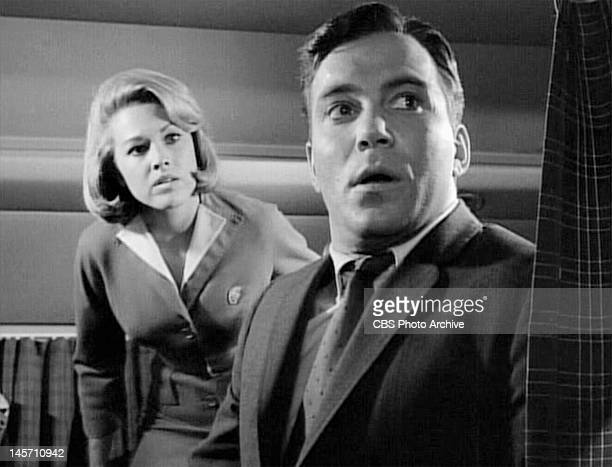Asa Maynor as stewardess and William Shatner as airline passenger Bob Wilson. 'Nightmare At 20,000 Feet,' episode of The Twilight Zone. Initial...