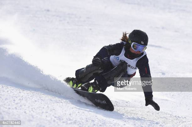 Asa Toyoda of Japan competes in Women's Giant Slalom on day two of the 2017 Sapporo Asian Winter Games at Sapporo Teine on February 19 2017 in...