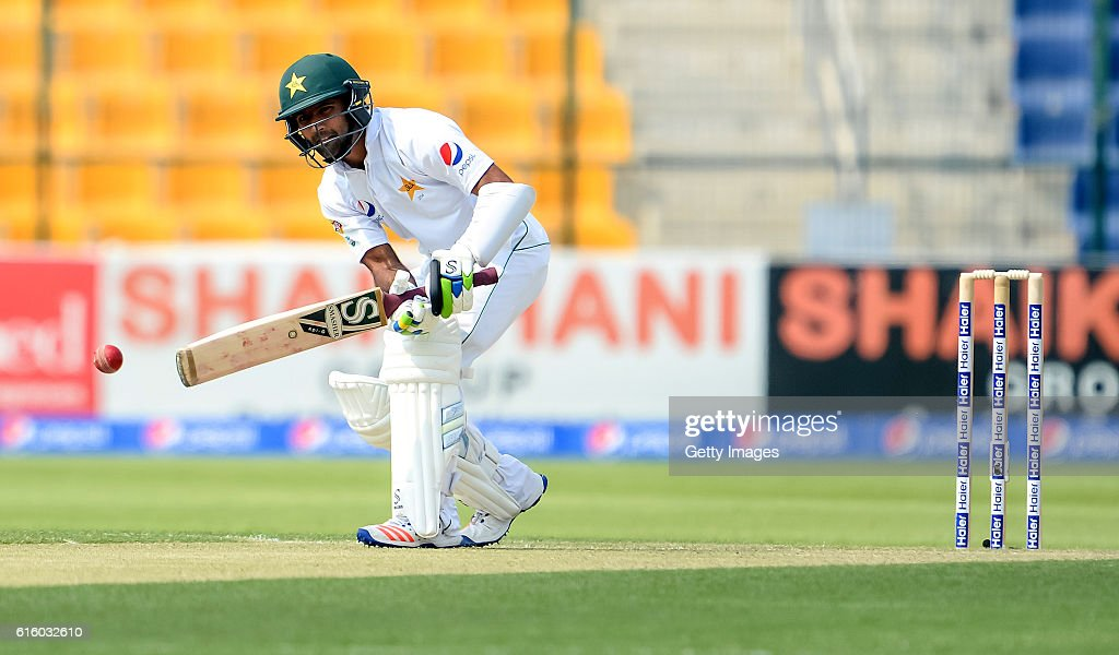 Asad Shafiq bats during Day One of the Second Test between Pakistan and the West Indies at the Zayed Cricket Stadium on October 21, 2016 in Abu Dhabi, United Arab Emirates.