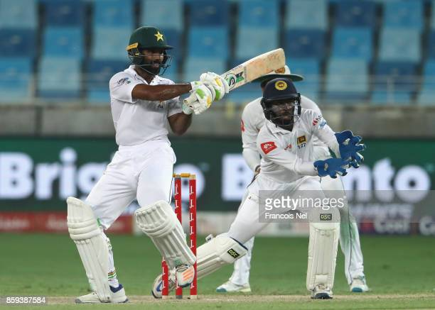 Asad Shafiq of Pakistan bats during Day Four of the Second Test between Pakistan and Sri Lanka at Dubai International Cricket Ground on October 9...