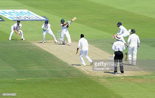 Asad Shafiq of Pakistan bats during Day Two of the First Test between Pakistan and England at Zayed Cricket Stadium on October 14 2015 in Abu Dhabi...