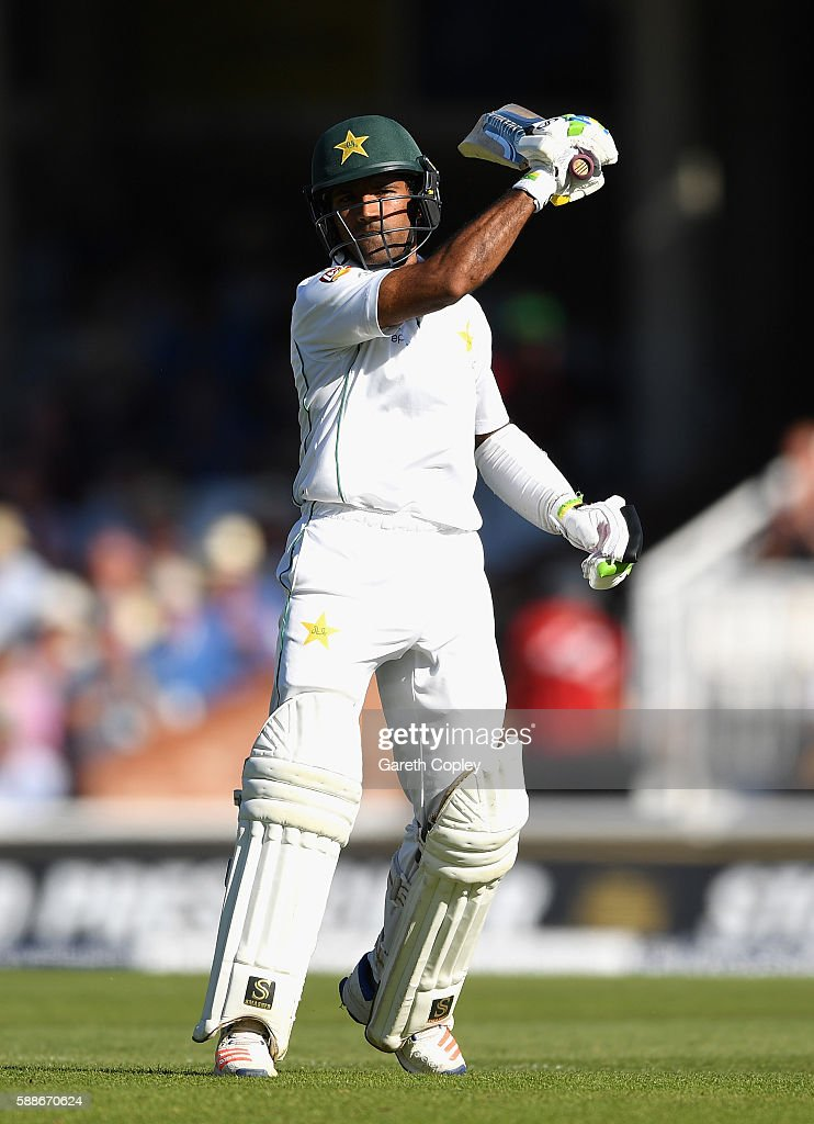 Asad Shafiq of Pakistan celebrates reaching his century during day two of the 4th Investec Test between England and Pakistan at The Kia Oval on August 12, 2016 in London, England.