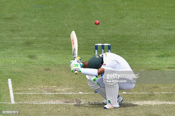 Asad Shafiq of Pakistan ducks under a bouncer during day two of the First Test between New Zealand and Pakistan at Hagley Oval on November 18 2016 in...
