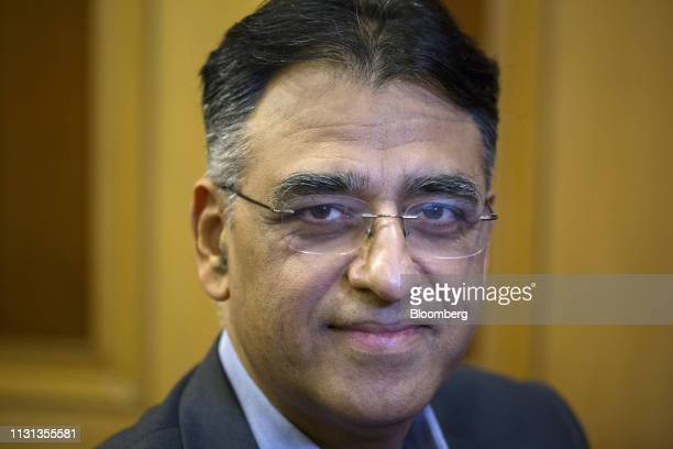 Asad Umar Pakistan's minister of finance poses for a photograph following the Bloomberg Pakistan Economic Forum in Karachi Pakistan on Monday March...