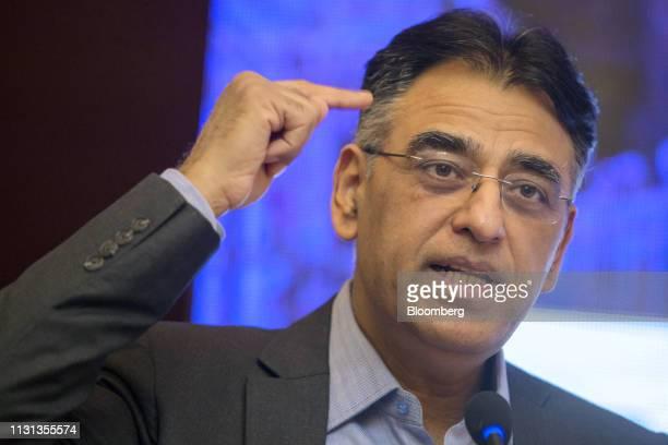 Asad Umar Pakistan's minister of finance speaks during the Bloomberg Pakistan Economic Forum in Karachi Pakistan on Monday March 18 2019 The forum...