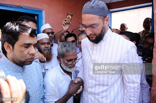Asaduddin Owaisi All India MajliseIttehadul Muslimeen leader meets the family of the Mohammad Akhlaq who was killed by a mob on the night of...