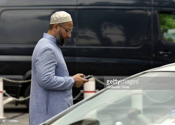 Asaduddin Owaisi arrives at the Parliament building during the Monsoon Session at Parliament House on July 24 2017 in New Delhi India