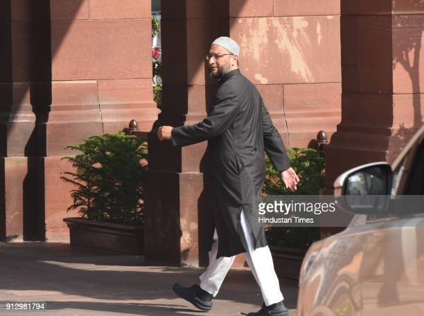 Asaduddin Owaisi at Parliament House on February 1 2018 in New Delhi India Agriculture got prime attention in the Union Budget 2018 presented by...