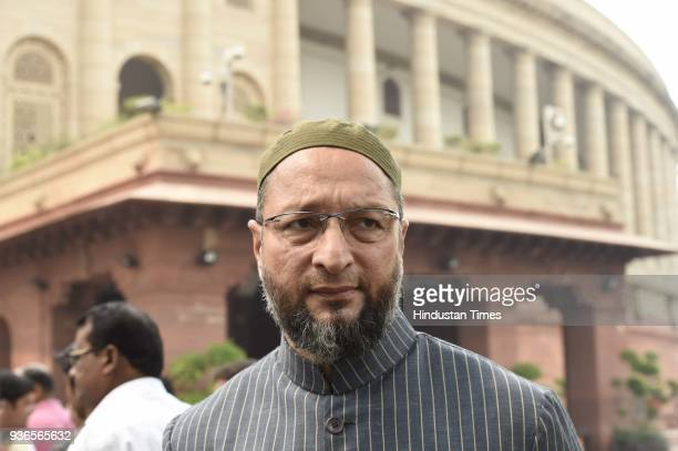 Asaduddin Owaisi during the budget session of Parliament on March 22 2018 in New Delhi India On Thursday the two Houses of Parliament cumulatively...