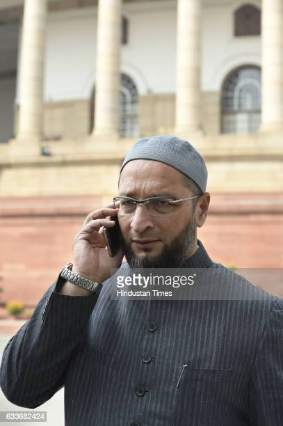 Asaduddin Owaisi during the Budget Session of the Parliament House on February 3 2017 in New Delhi India Lok Sabha proceedings were disrupted today...