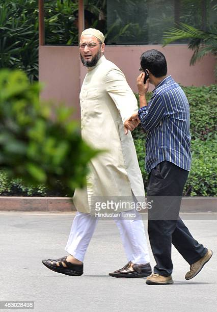 Asaduddin Owaisi Member of Parliament after attending the Parliament Monsoon Session on August 5 2015 in New Delhi India Congress and some opposition...