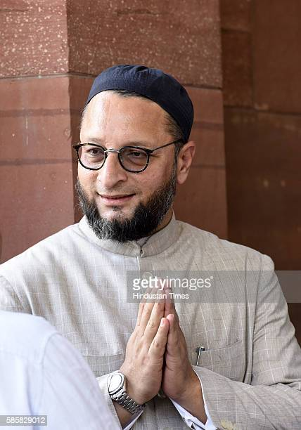Asaduddin Owaisi Member of Parliament President All India MajliseIttehadul Muslimeen during the ongoing Parliament Monsoon Session on August 4 2016...