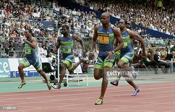 Asafa Powell of Jamaca in action on his way to winning in the men's 100m during the IAAF Golden League Meeting in Paris at the Stade de France on...