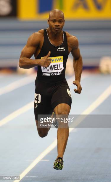 Asafa Powell of Jamaica in action during the mens 60m heats during the Aviva Grand Prix at the NIA Arena on February 18 2012 in Birmingham England