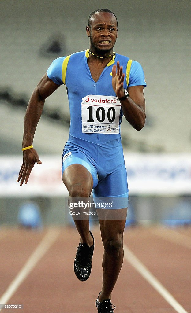 Asafa Powell of Jamaica in action in the men's 100m event at the Athens Super Grand Prix at the Olympic Stadium June 14, 2005 in Athens, Greece. Powell set a new world record time of 9.77 seconds, breaking the previous record of 9.78 seconds held by Tim Montgomery of USA.