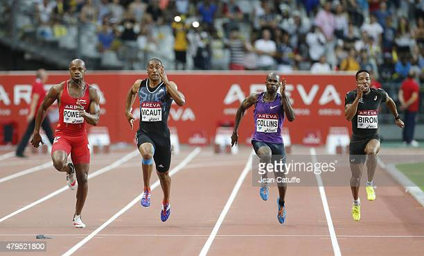 Asafa Powell of Jamaica Jimmy Vicaut of France Kim Collins of Saint Kitts and Nevis Emmanuel Biron of France compete in the men's 100m during the...